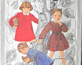 Simplicity Cinderella 9610 Child's Back-Button Dress Pattern, Size 4, Vintage 1980