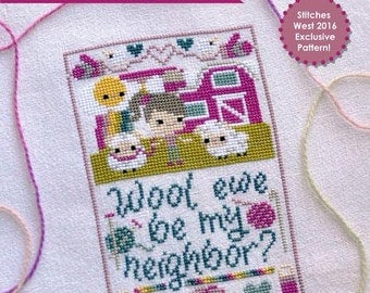 Wool Ewe Be My Neighbor No. 111 : The Frosted Pumpkin Stitchery cross stitch pattern Stitches West 2016 knitting sheep The Cottage Needle