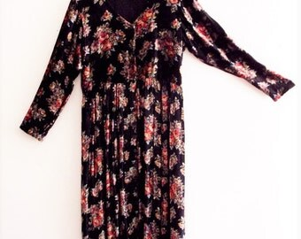 Sale Bohemian Floral Black Velvet Maxi Dress