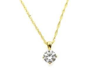 14k Gold necklace. sparkly gold princess necklace. Gold necklace, gold jewelry, Clear crystal zircons necklace, solid gold necklace. (big)