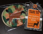 Camo Boy thank you tags Hunting Birthday party PRINTABLE Hanging Thank You Tags  Personalized orange camo realtree deer buck