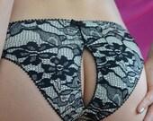 Women Sleepwear & Intimates Panties Handmade Lingerie  The Peek-a-Boo Lace Print Jersey Panties Made to Order