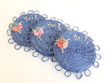 Haiti Blue Raffia Coasters for Patio, Porch, Deck, Tiki Bar