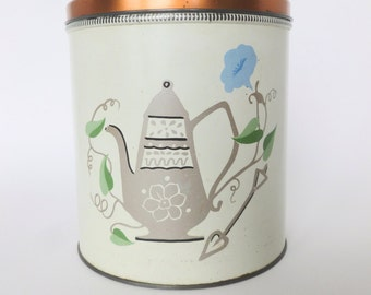 Coffee Canister Tin Litho Lithograph with Coffee Pot and Blue Morning Glory Design and Copper Lid