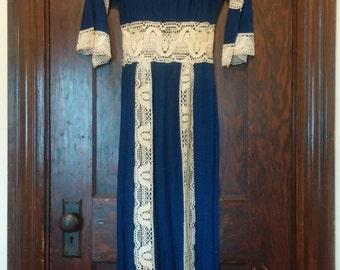 70s Boho Crochet Mexican Dress, Blue