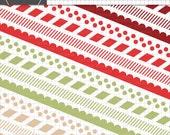 Christmas Digital Borders, Scalloped Digital Borders, Striped Border Clip Art, Polka Dot Borders Clipart, Red, Green, Commercial Use Images