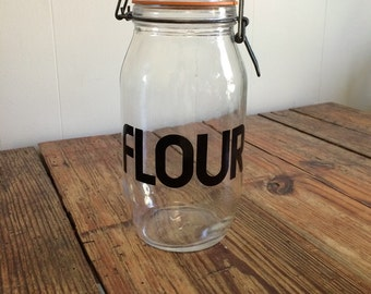 Vintage Black Typography Clear Glass Hermetic Wire Bale Flour Canister 2L France