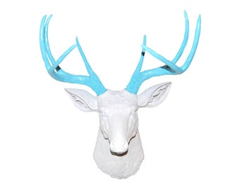 White and Robin's Egg Blue Deer Head Wall Mount - Near and Deer D0133