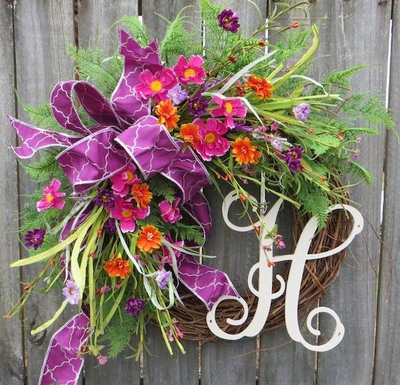 Door Wreath, Spring Monogram Wreath, Mother's Day Gift, Houswarming Gift, Wreath for Spring and Summer, Front Door Wreath, Etsy Wreath
