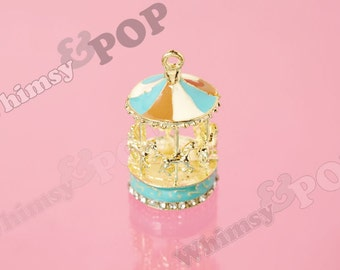 1 - Gold Tone Crystal Rhinestone Enamel Pegasus Horse Merry Go Round Carousel Charm, Carousel Charm, Carousel Pendant, 20mm x 40mm (R8-197)