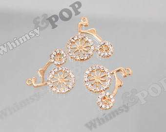 1 - Gold Tone Alloy Crystal Rhinestone Bicycle Charm Pendant, Bike Charms, Bicycle Charm, 24mm (6-4G)