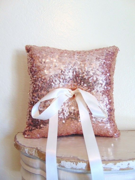Blush Sequin Ring Bearer Pillow, Blush Ring Bearer Pillow, Blush Wedding Decor, Blush Wedding, Blush Decor, Sequin TOUCH OF BLUSH