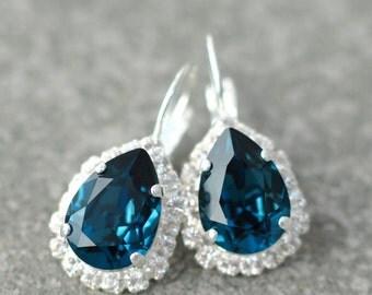 Navy Blue Drop Earrings Swarovski Crystal Navy Rhinestone Tennis Earrings MOB MOG Maid Of Honor Clear Diamond Something Blue Mashugana