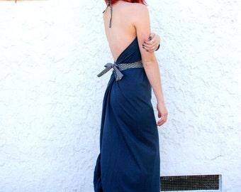 Women's Organic Backless Blue  Dress - Slow Fashion, Sustainable fashion, Eco Conscious *Free Shipping*
