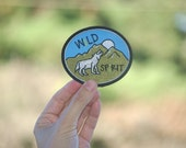 Free Shipping (US only) Wolf patch Mountain Alpine camping patch hiking wolf animal snow capped peak badge nature moon lumberjack hipster