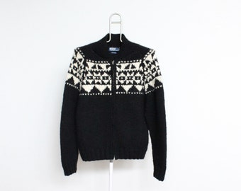 Ralph Lauren Polo Hand Knit Wool Cardigan Sweater Mens Medium / Large Unisex Womens Boyfriend Black White Chunky Nordic Fisherman Fair Isle