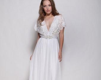 Bohemian lace sleeves wedding dress,open back wedding dress