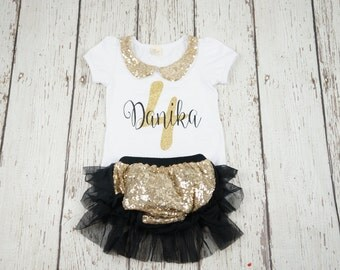 black gold birthday outfit, first birthday outfit, 1st birthday, 2nd birthday outfit, girl birthday outfit, black and gold, gold sequin