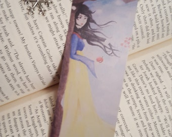 Snow White Bookmark with Beaded Tassel and  Snowflake Charm.