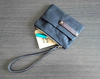 Waxed canvas pouch - canvas wallet - gift for men - gift for husband - gift for boyfriend - Christmas gift - waxed canvas handbag - wallet