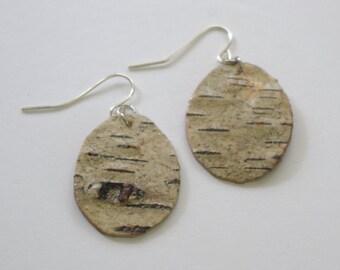 Birch Bark Oval OOAK Statement Earrings