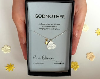 Godmother Necklace Will You Be My Godmother Gift Baptism Gifts Personalized Gift Christening Inspirational Heart Necklace Godchild Baby Gift