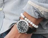 Men's Bracelet. Bead bracelet for men. Jewelry for men. Adjustable elastic bracelet. Shell beads and Black CZ Pave Bead Bracelet