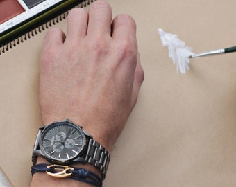 Men's Bracelet, tactical rope - cord bracelet for men - hook bracelet for men - carabiner style wrap around bracelet