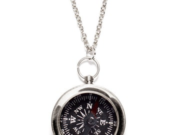 Men's Jewelry - Small compass necklace - Silver chain for men - unique small functional compass pendant for men and women - Silver necklace