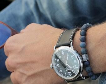 Men's Bracelet. Bead bracelet for men. Jewelry for men. Adjustable elastic bracelet. Dumortierite and Black CZ Pave Bead Bracelet