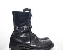 10 1/2 D | Double H / HH Paratrooper Jump Boots Cap Toe Combat Boots Black Leather