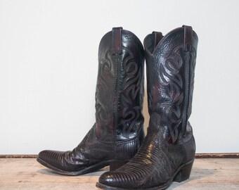 9 D | Men's Dan Post Lizard Western Cowboy Boots in Dark Red Oxblood