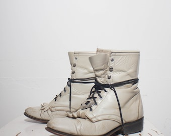 7.5 M | Women's Laredo Pearl White Ropers Super Distressed Lace Up Boots