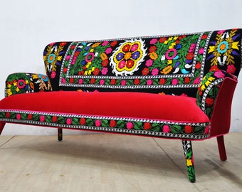 Suzani 3-seater sofa - scarlet love