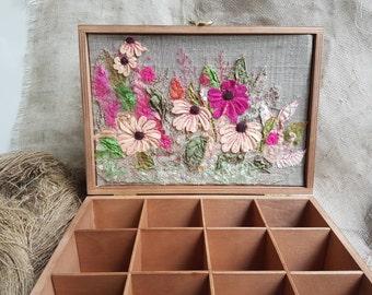 Tea box Wooden tea box Tea storage Tea gift box Wooden embroidered box Recipes box Decorative tea box Gift from mom Kitchen accessories