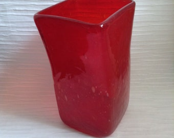 Red Art Bubble Glass Vase.  WOW fabulous Blown Glass.   Mid century modern, Danish Modern, Eames era.  Vintage 1960's.