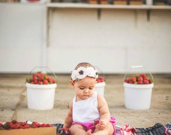 Sale- Wool Felt Flower Crown in Wheat, Off White and Vintage Pink - Flower Headband - Baby Headband -Hair accessories- 8 inch flower crown