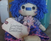 Primitive Blue Hair Raggedy with Tag