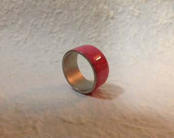 Bubble Gum Pink Ring Enamel Band size 8