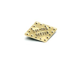 Diamond Shaped 'Diamond Geezer' Brass Brooch
