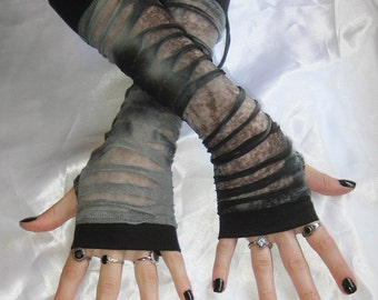 Zombie Armwarmers Ripped Death living dead Horror undead corpse postmortem geekery gore medieval renaissance visual kei mesh vampire emo
