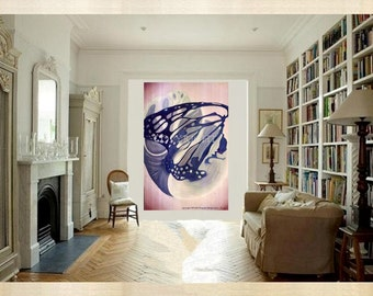 "Free Spirit Art Butterfly Shell Original Painting Large Canvas Navy Blue Beige Blush 40"" x 60"" Timeless Transformation 48 x 48 Taupe Rose"