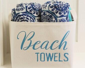 SALE! Beach Towels Canvas Storage Basket, Turquoise