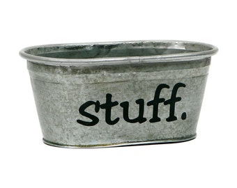 Stuff Hand Painted Galvanized Tub in Black- Size SMALL