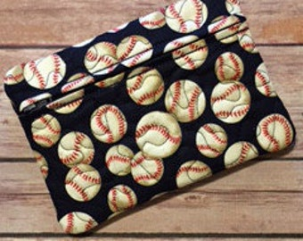 Travel Quilted Zippered Bag, Baseball Softball print, Boy Treasure Bag, Cell Phone Wallet, Pencil Case, Travel Pouch, Luggage