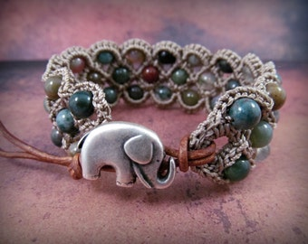 "Boho Beaded  Cuff Bracelet ""Bohemian Rhapsody"", multi gemstones, elephant button, Crochet Jewelry"