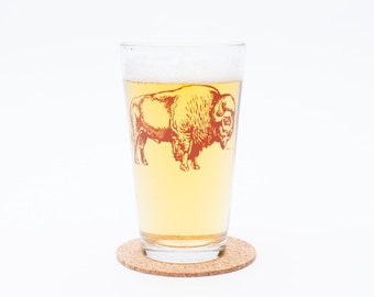 Bison Pint Glass - Buffalo - Beer Glass - Barware - Buffalo Glassware - Screen Printed - Made in USA