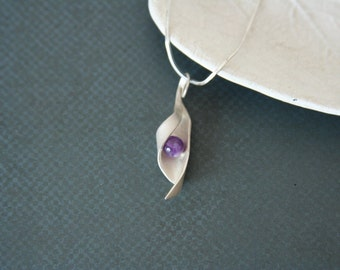 Sterling Silver Necklace Purple Bead Pendant - Made from silver with a purple glass bead
