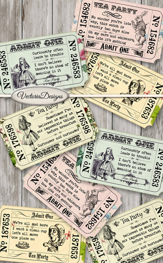 Printable Alice in Wonderland Tea Party Invitation Tickets