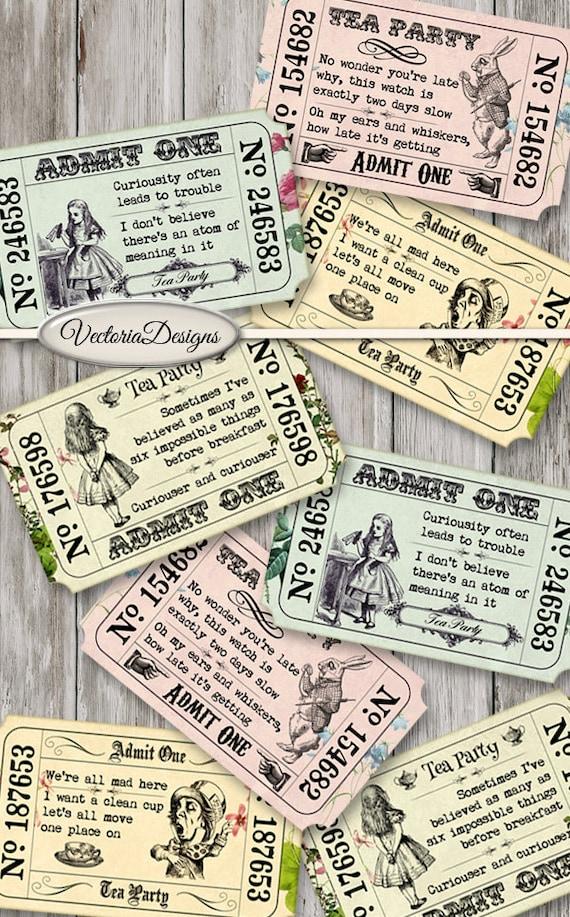 Printable Alice in Wonderland Tea Party Invitation Tickets